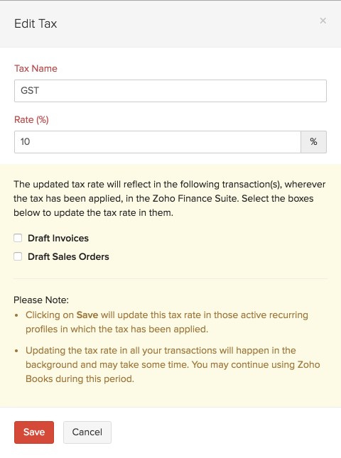 Update Tax Rate