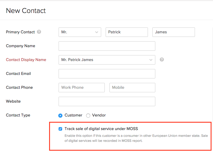 Enable VAT MOSS contact