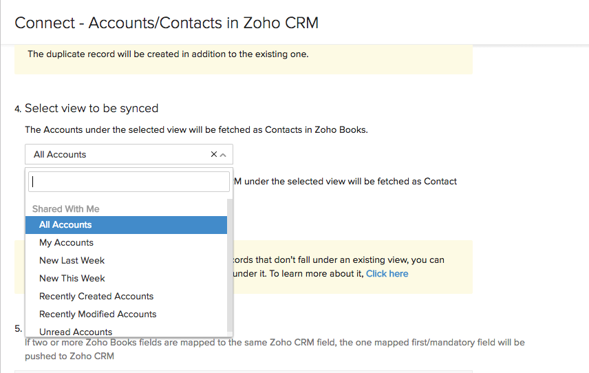Selective account/contacts import from Zoho CRM | FAQ | Zoho