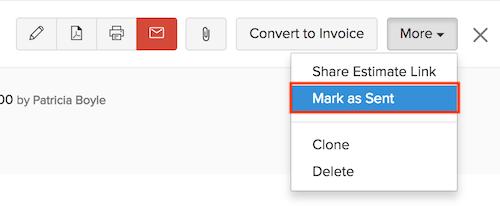 Mark an estimate as sent