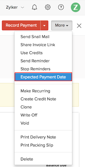 Set Expected Payment Date