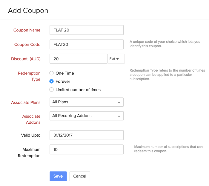 New coupon form
