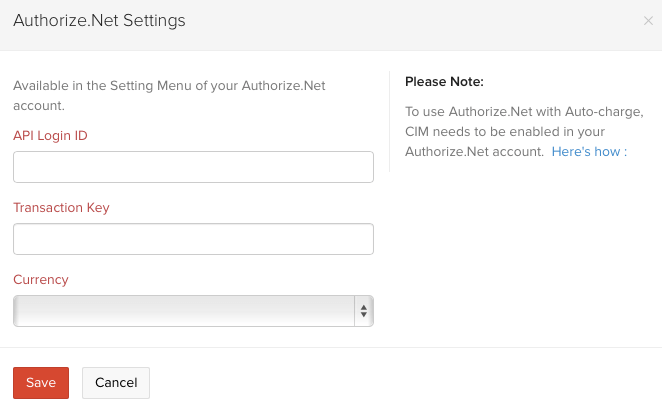Setting up Authorize net
