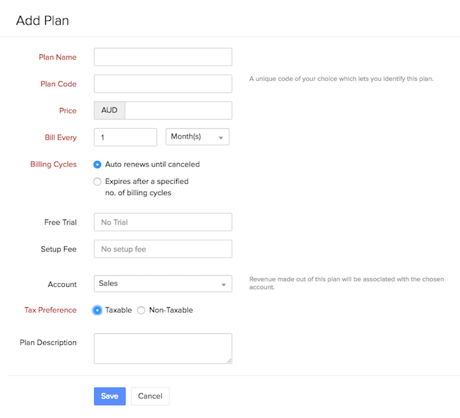 New plan form