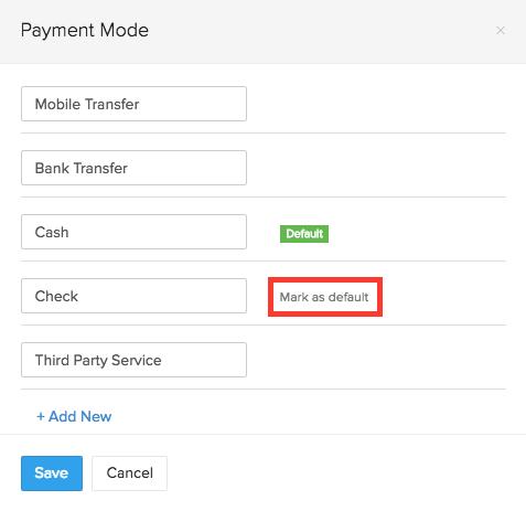 Default Payment Mode