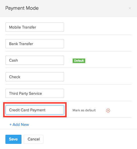 Rename an existing Payment Mode