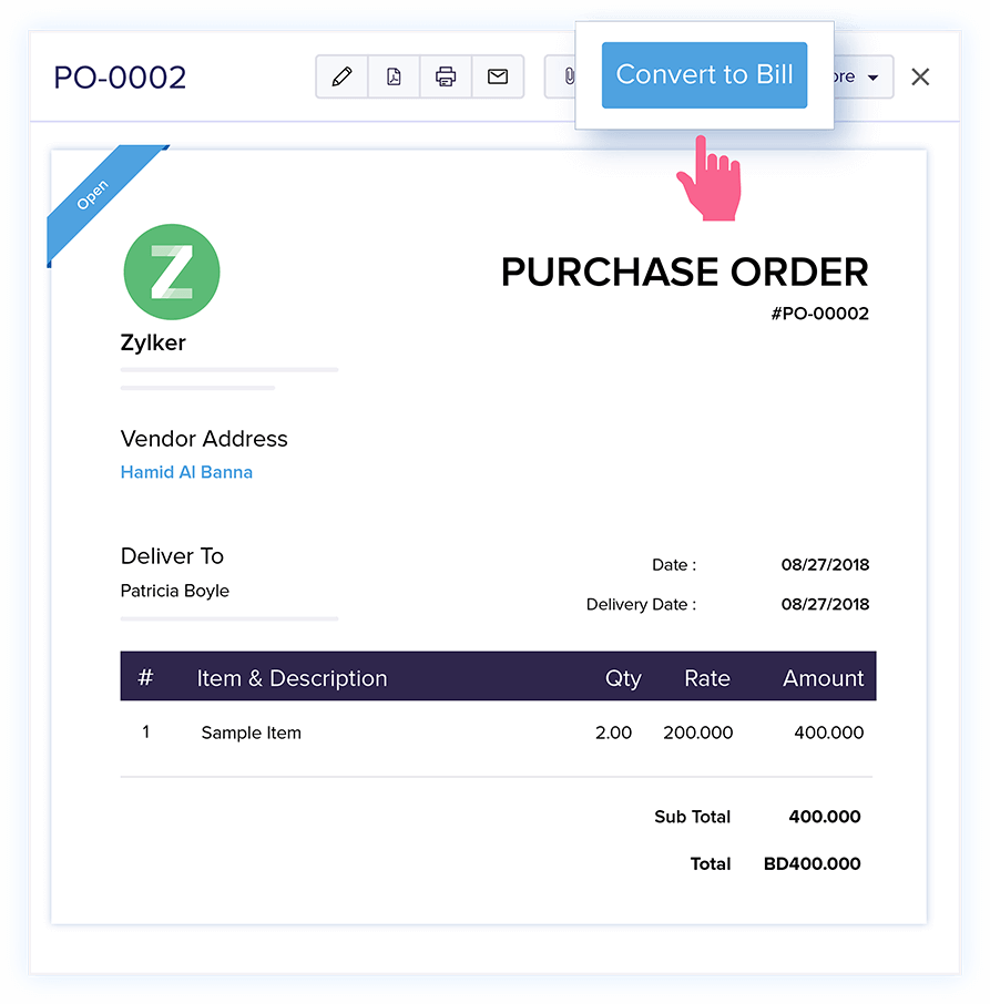 Bills from Purchase Orders - Online Billing Management Software | Zoho Books