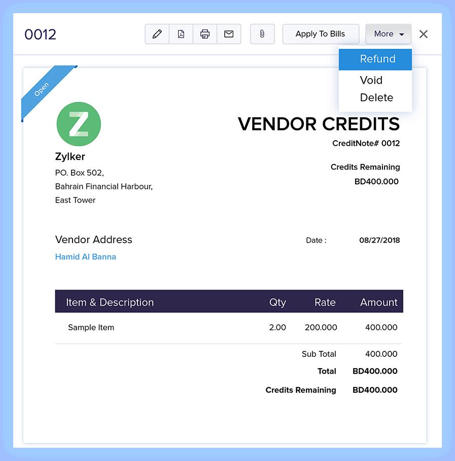 Vendor Credits - Online Billing Management Software   Zoho Books