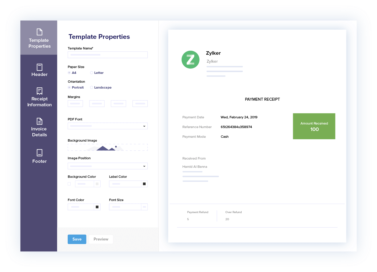 Customize Payment Receipts - Accept Credit Card Payments Online   Zoho Books