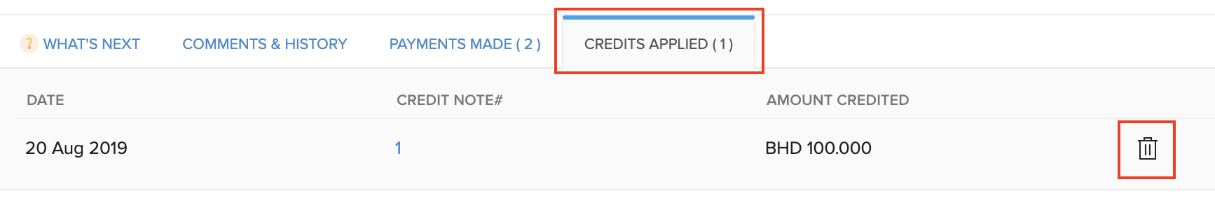 Delete Applied Credits