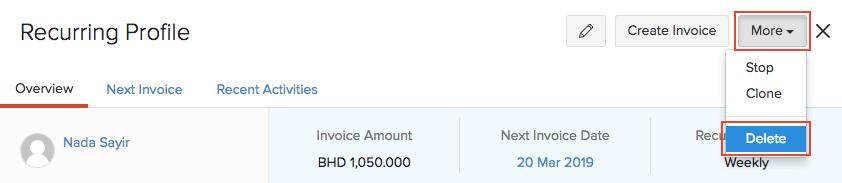 Delete Invoice