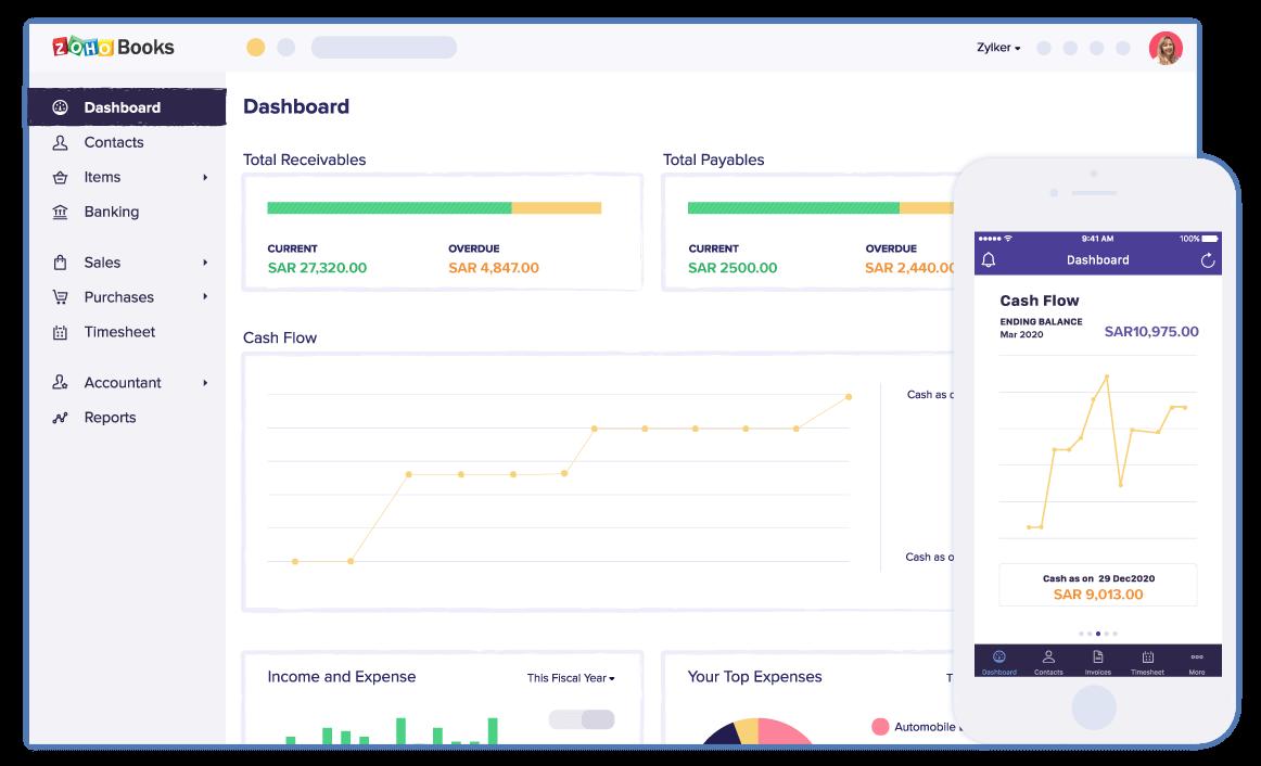 Dashboard | Online Bookkeeping Software Dashboard - Zoho Books