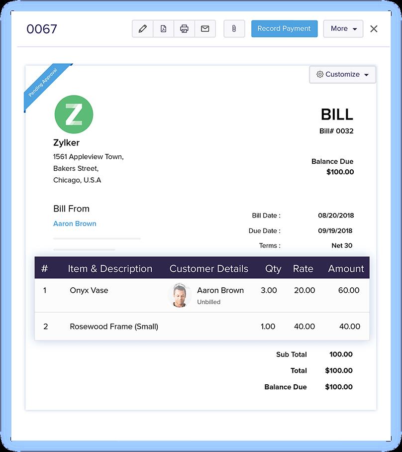 Associate Customers with Bills - Online Billing Management Software | Zoho Books