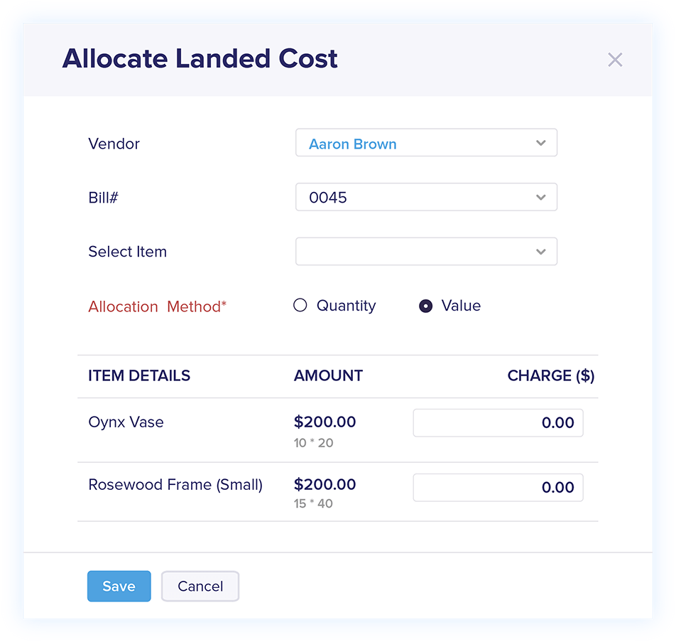 Landed Cost in Bills - Online Billing Management Software | Zoho Books