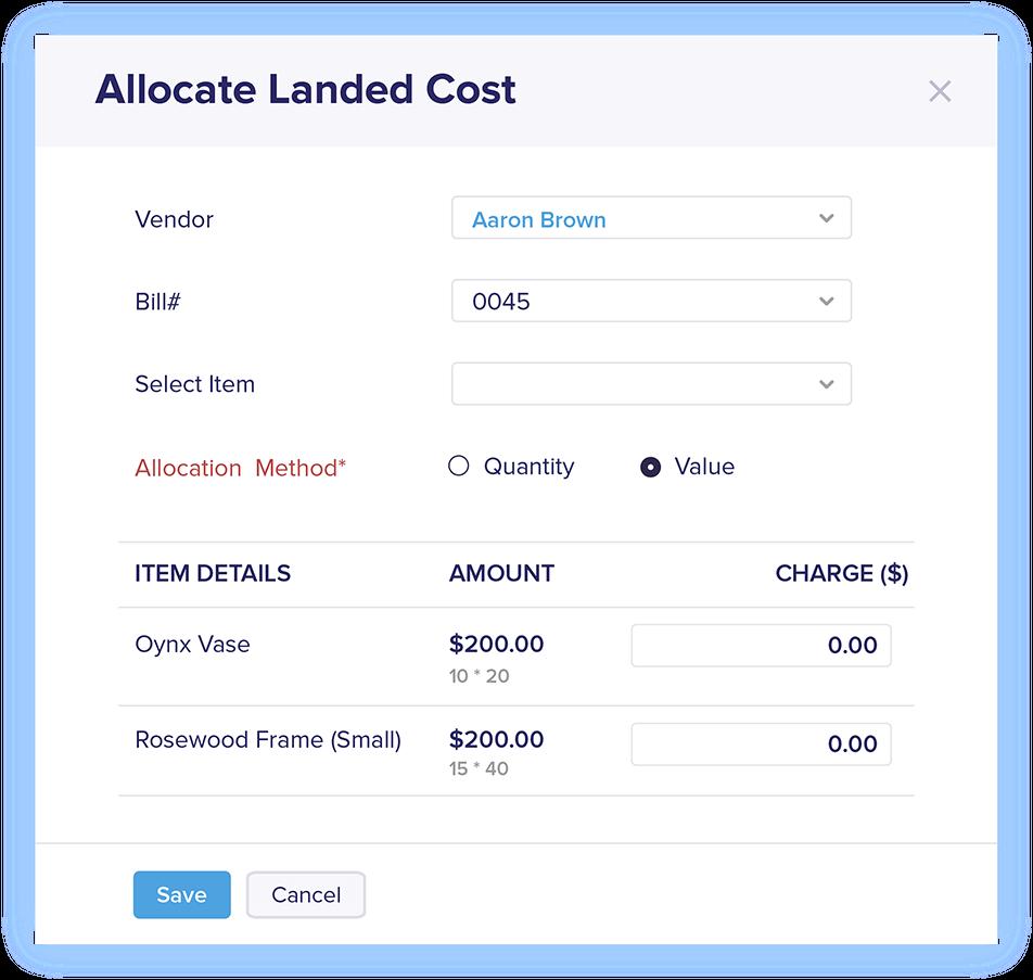 Landed Cost in Bills - Online Billing Management Software | Zoho Books
