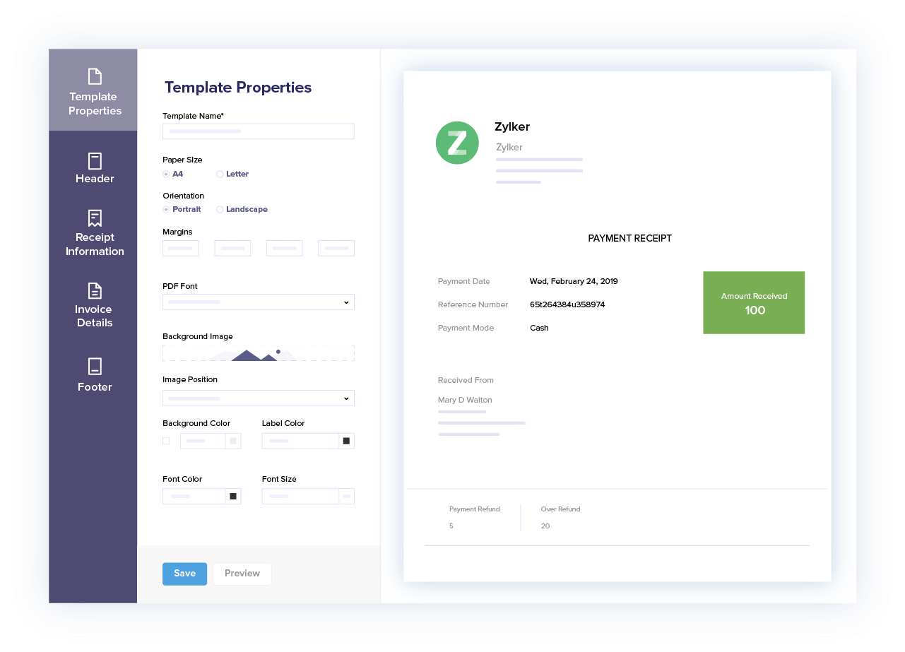 Customize payment receipts