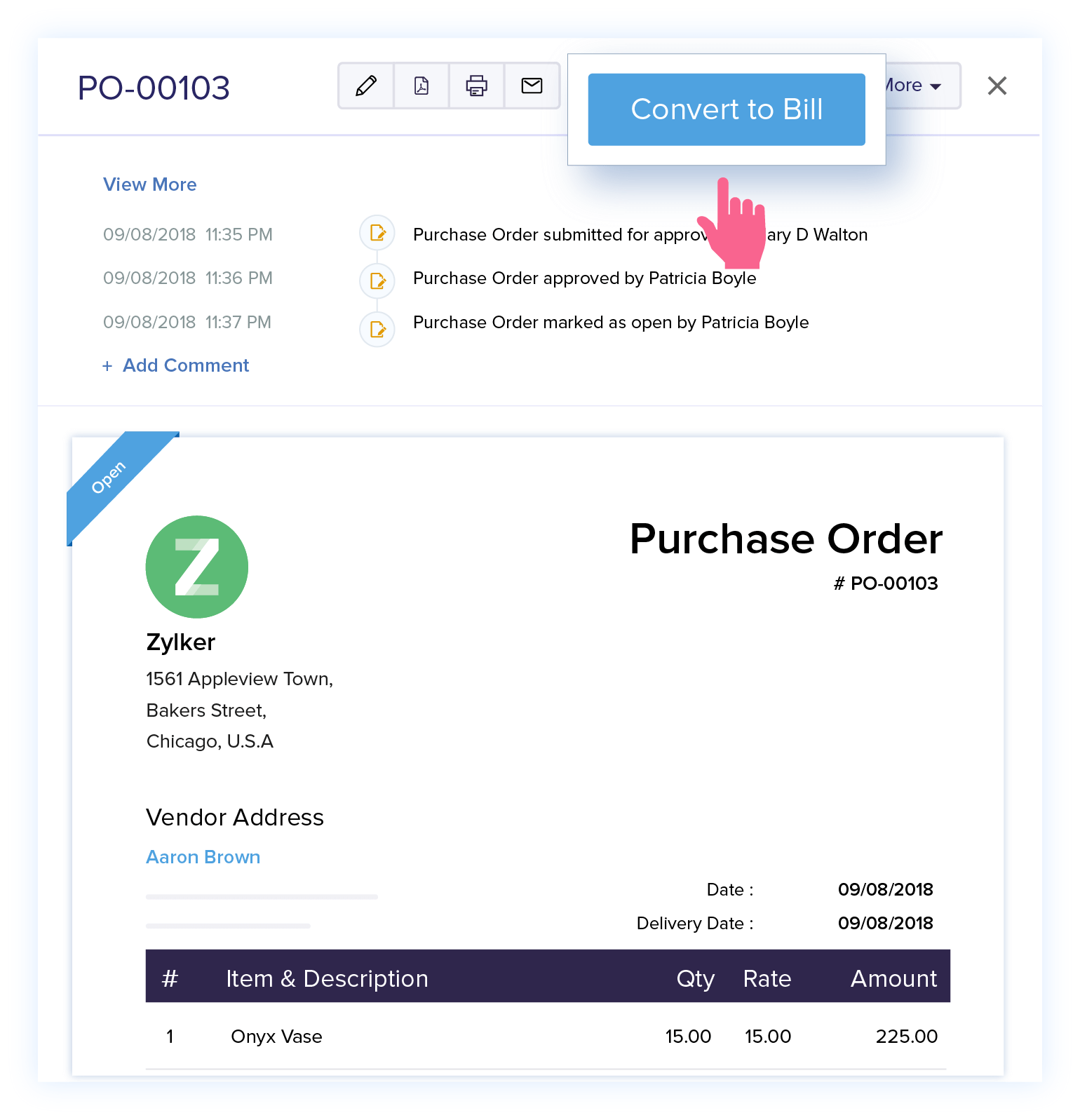Convert Purchase Orders to Bills - Online Purchase Order Management   Zoho Books