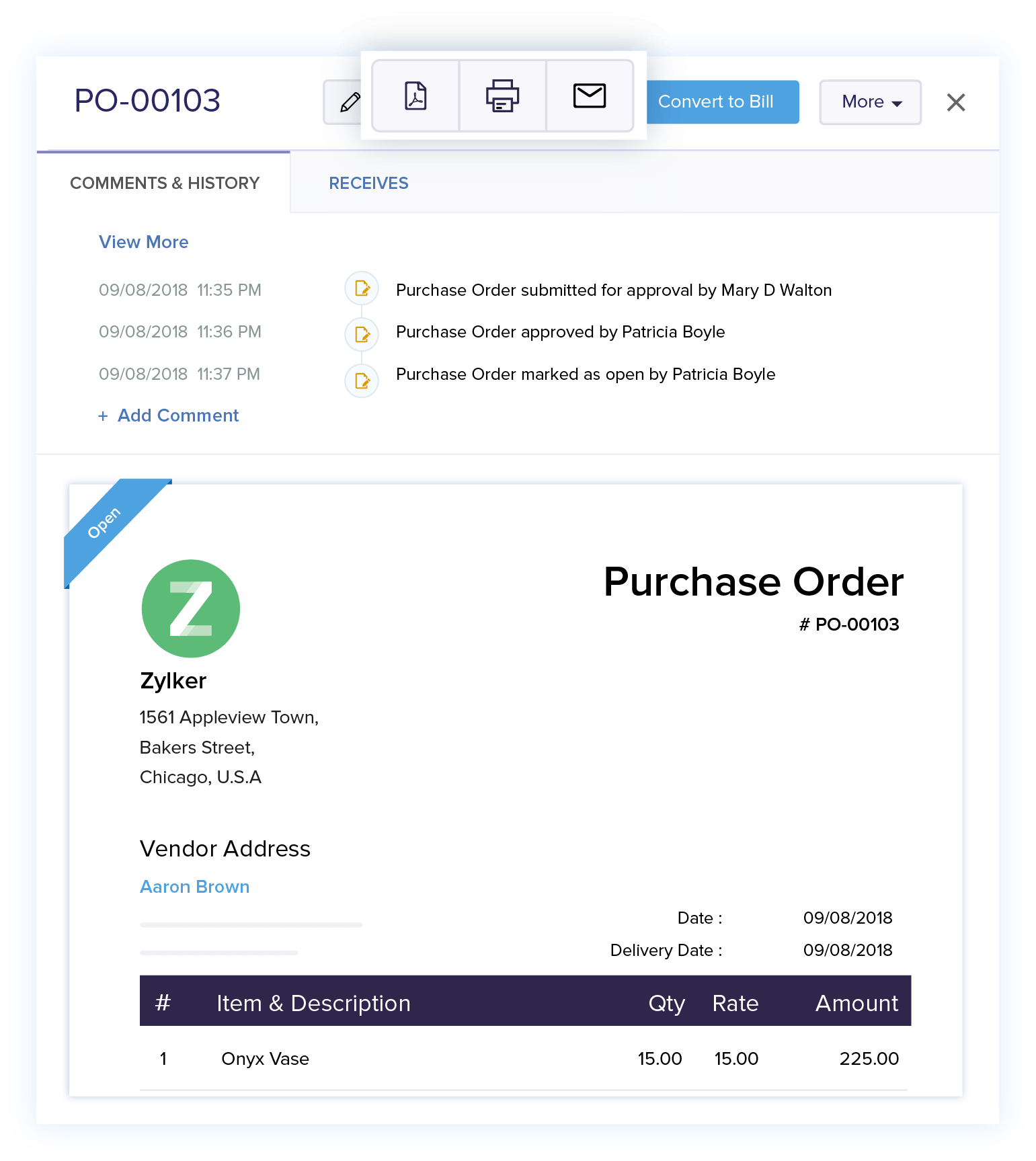 Share Purchase Orders - Online Purchase Order Management | Zoho Books