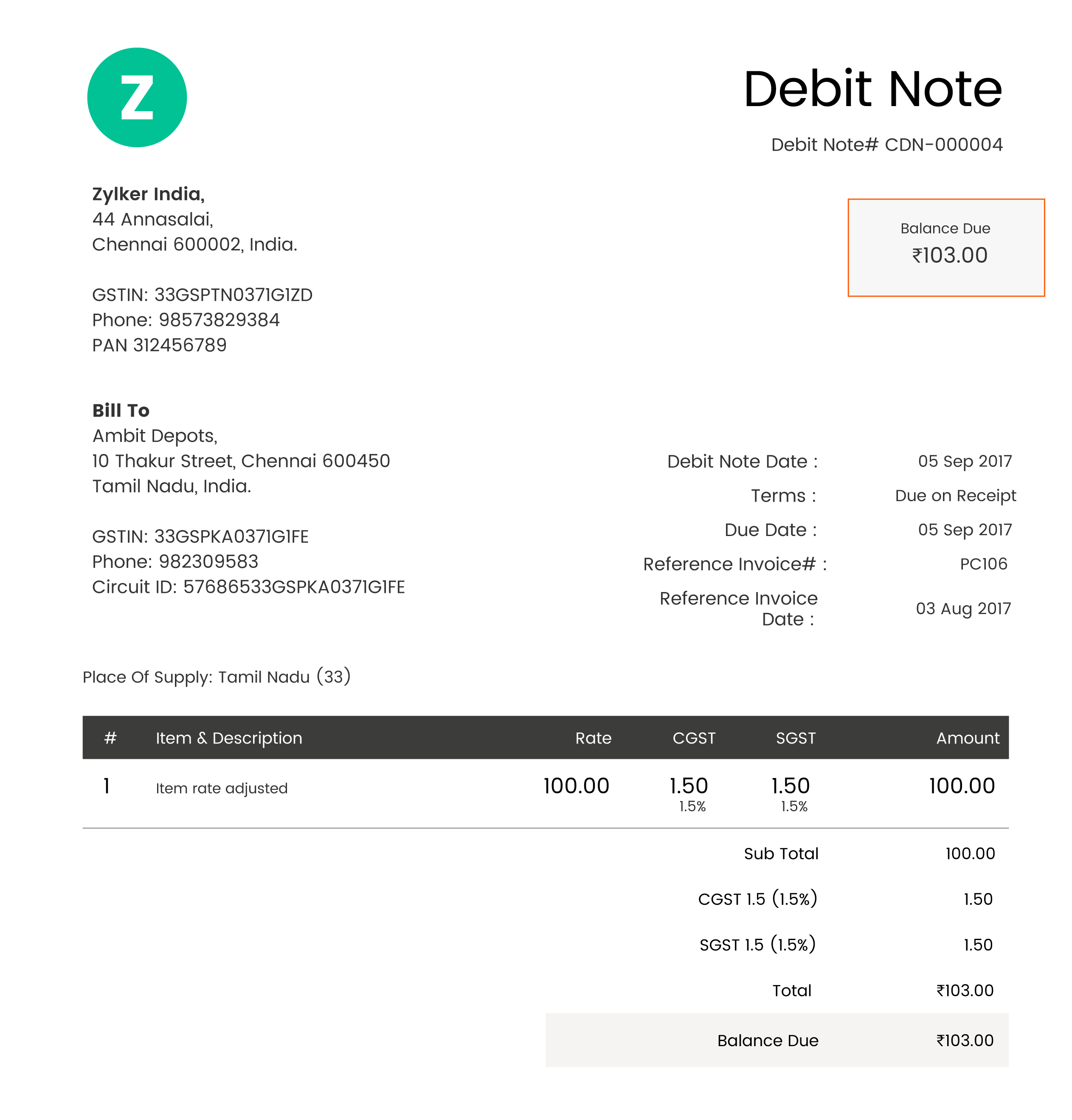 Based On The Rules Prescribed By The Government, Here Is What A Sample  Debit Note Will Look Like In The GST Regime:  Debit Note Sample