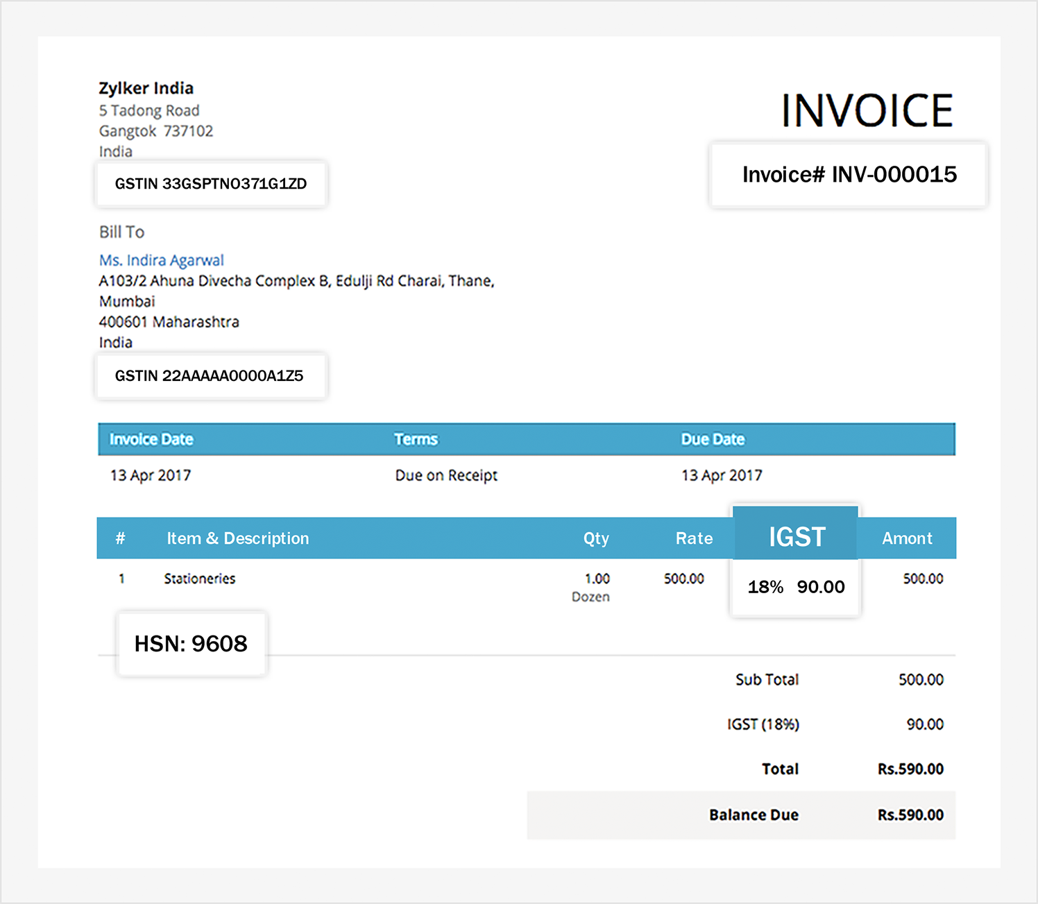 Written Invoice Template Excel Create And Send Gst Compliant Invoices  Zoho Books General Contractor Invoice Word with Cash Payment Receipt Template  Gst Compliant Invoice Electronic Ticket Passenger Itinerary Receipt