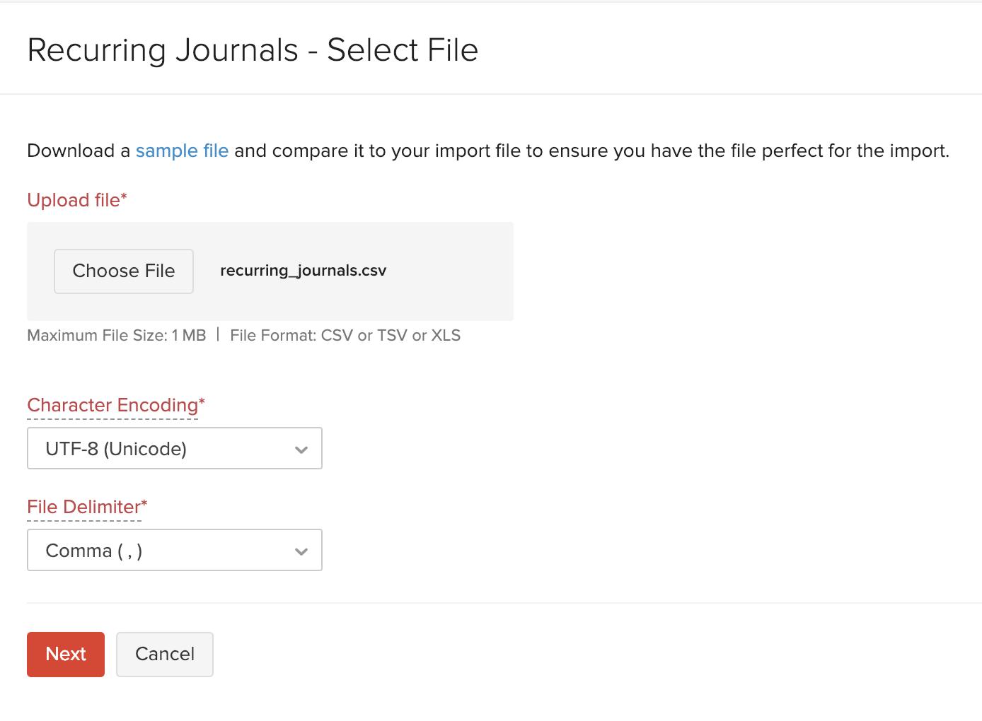 Import Recurring Journals - Choose File