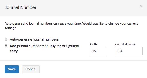 Edit Journal Numbers