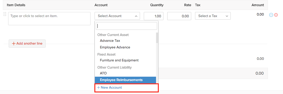 Select New Account