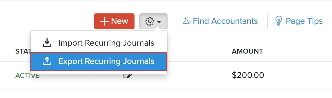 Select Export Recurring Journals