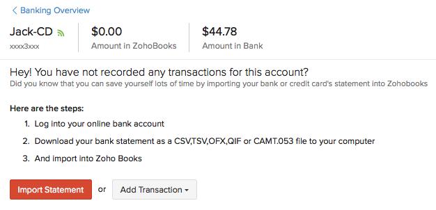 banking help zoho books