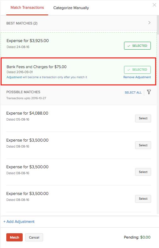 Adjustment in transaction list