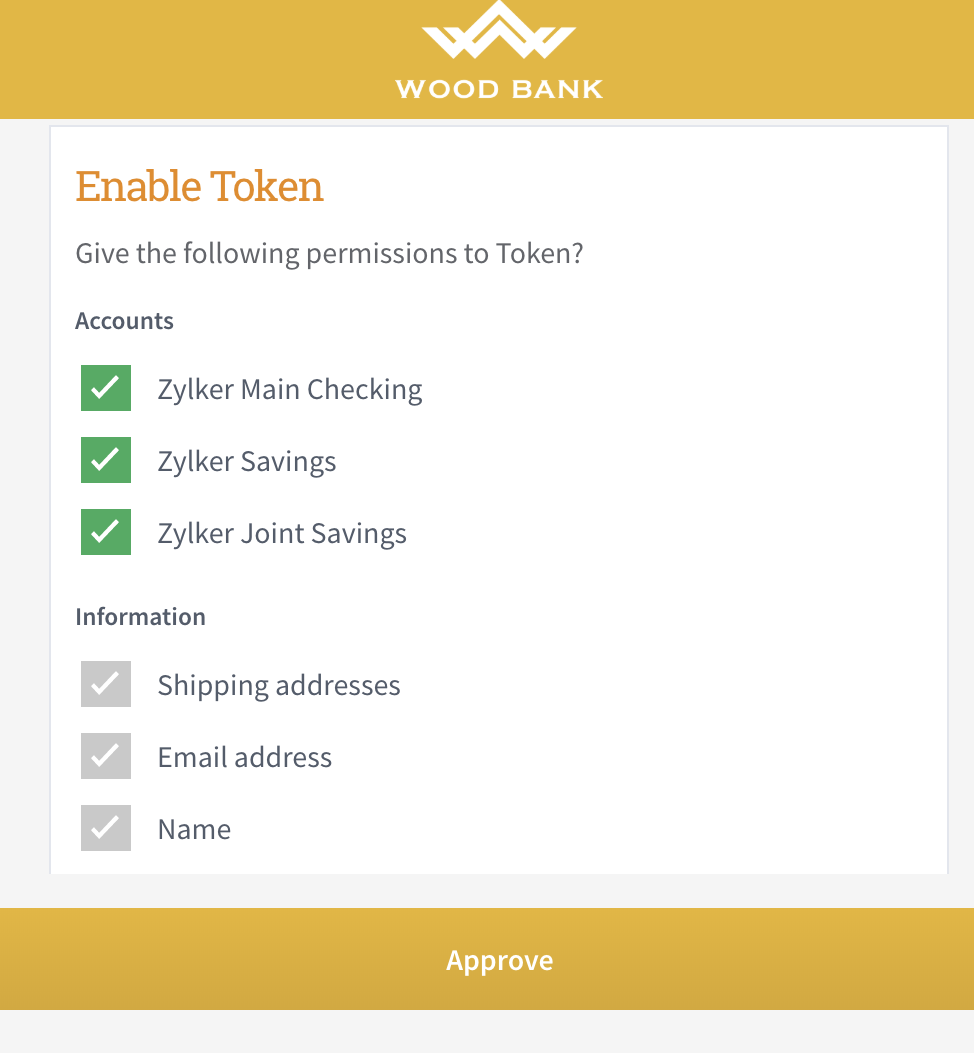Select your bank accounts