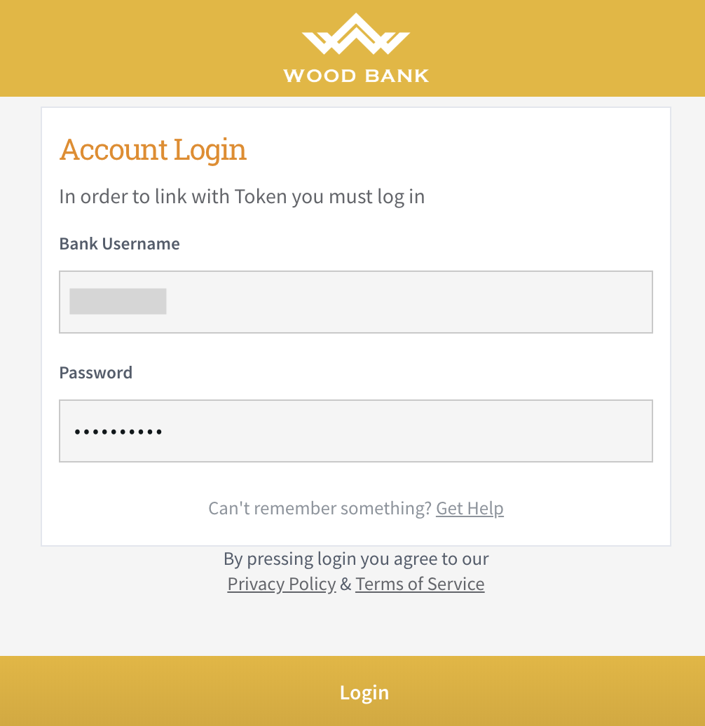 Login to your bank