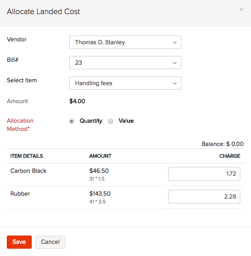 Allocate Landed Costs to another bill