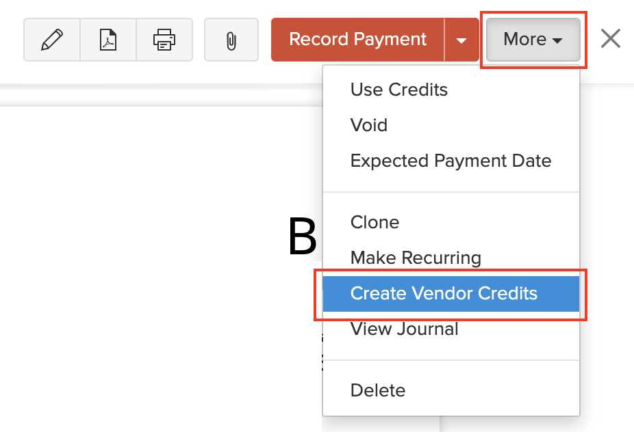 Create Vendor Credits
