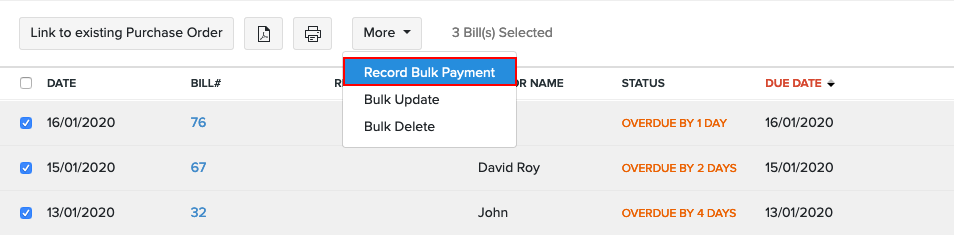 Record Bulk Payments