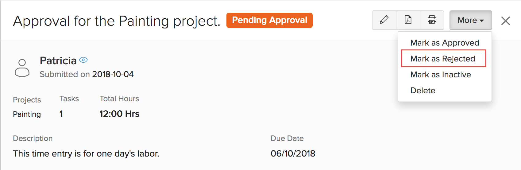 Reject Client Approval