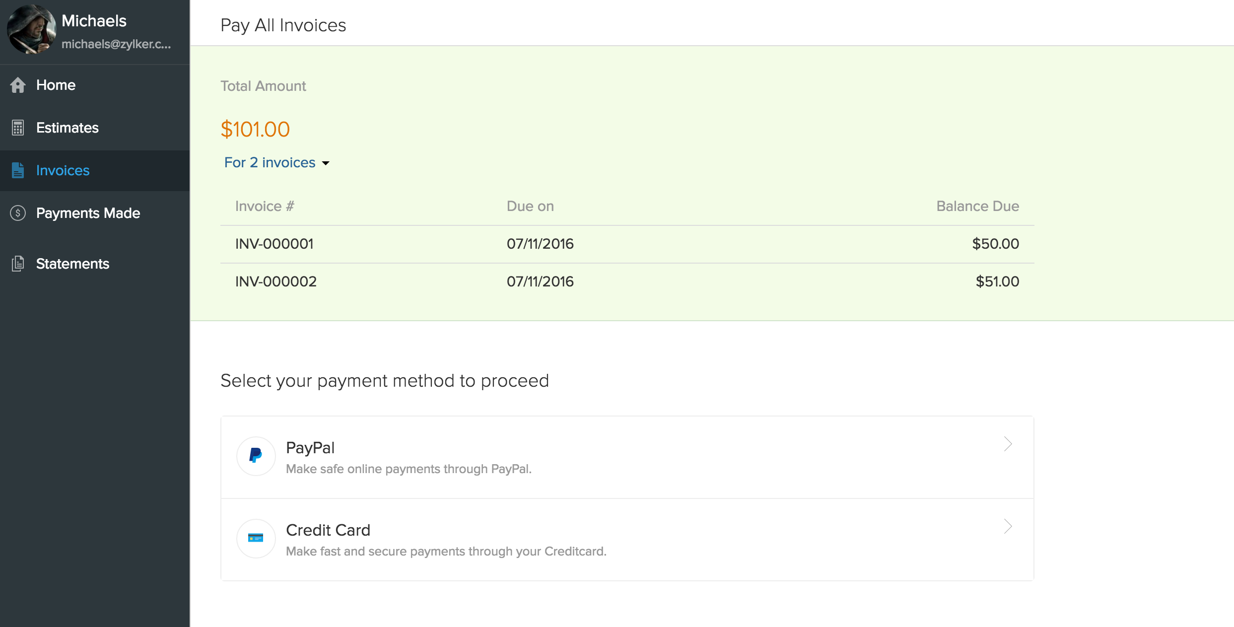 Client Portal Help Zoho Books - Open invoice login