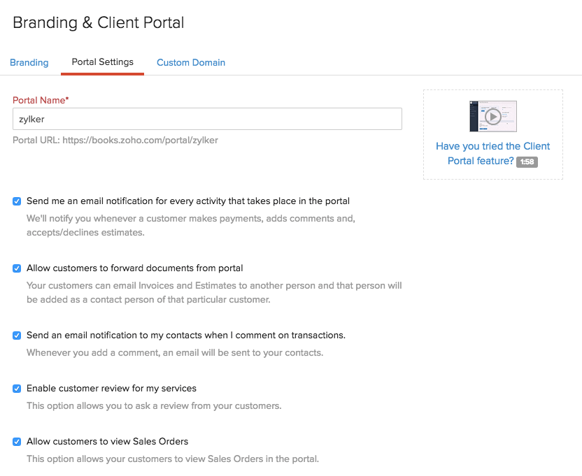 Client Portal Preferences