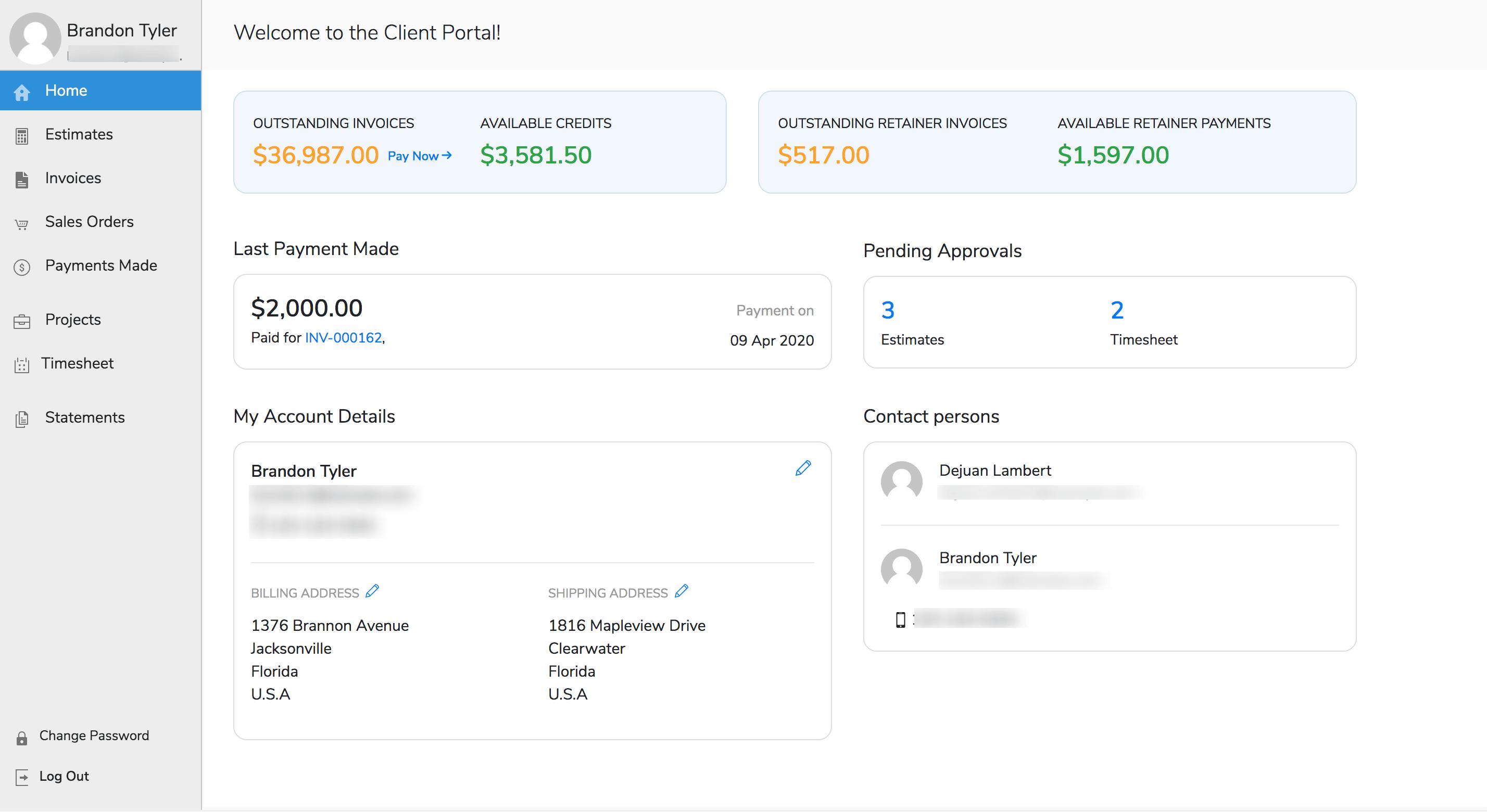 Client Portal Home