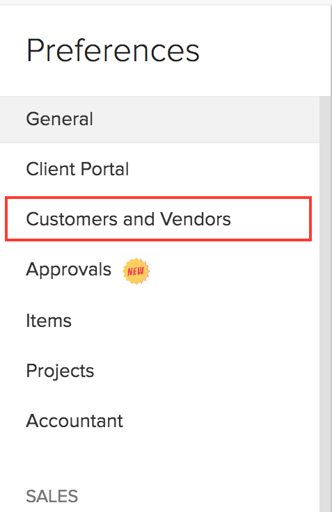 Customers/Vendors Preferences