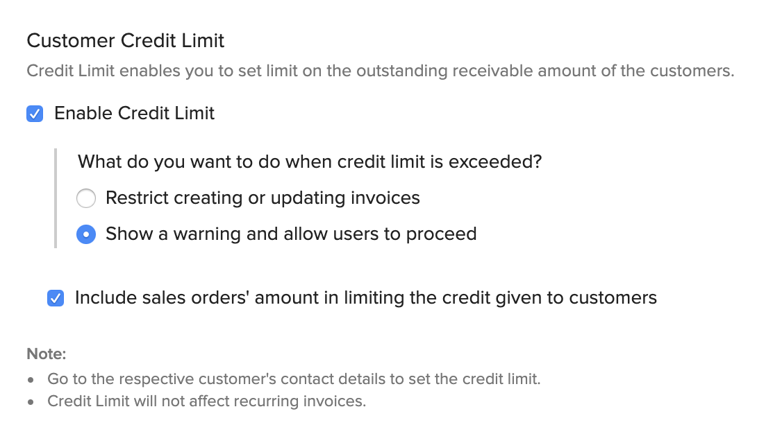 Enable Customer Credit Limits