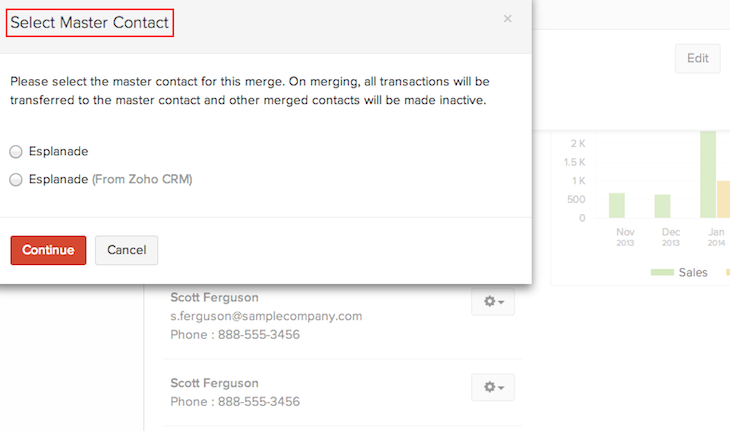 Select master contact for Merge