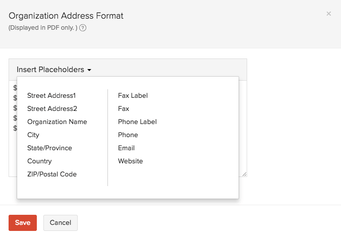 Organization address format