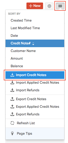 Import Credit Notes