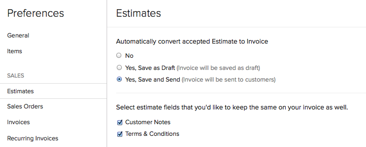 Converting an Estimate to Invoice