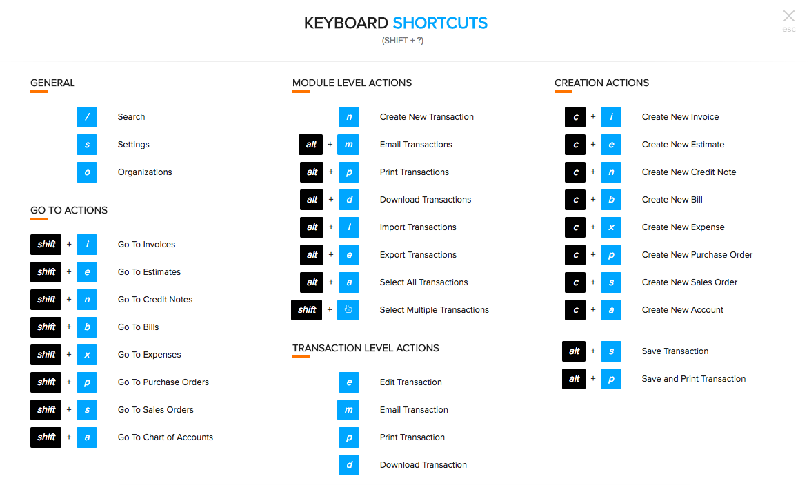 Keyboard Shortcuts Zoho Books