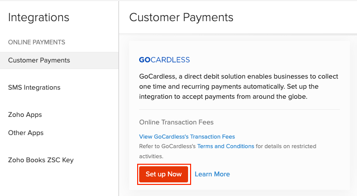 Connect to GoCardless page