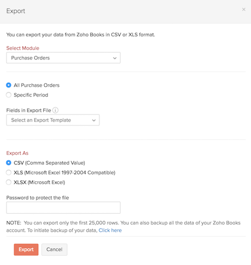 Export Data | Help | Zoho Books