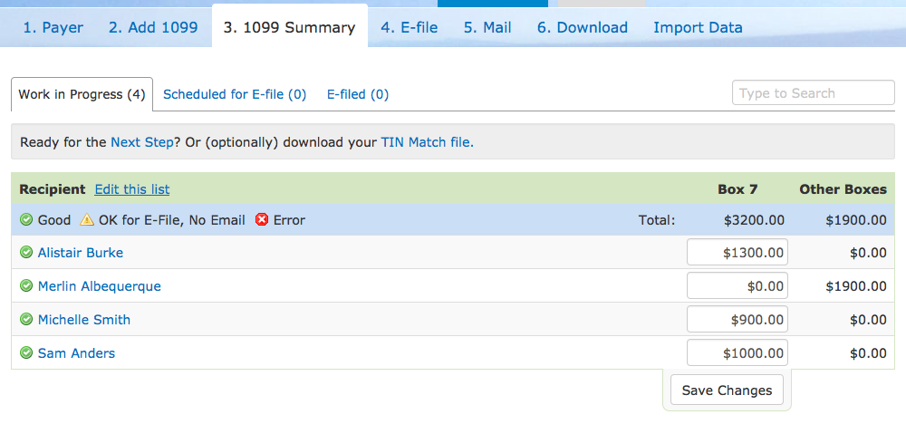 1099 Summary Tab