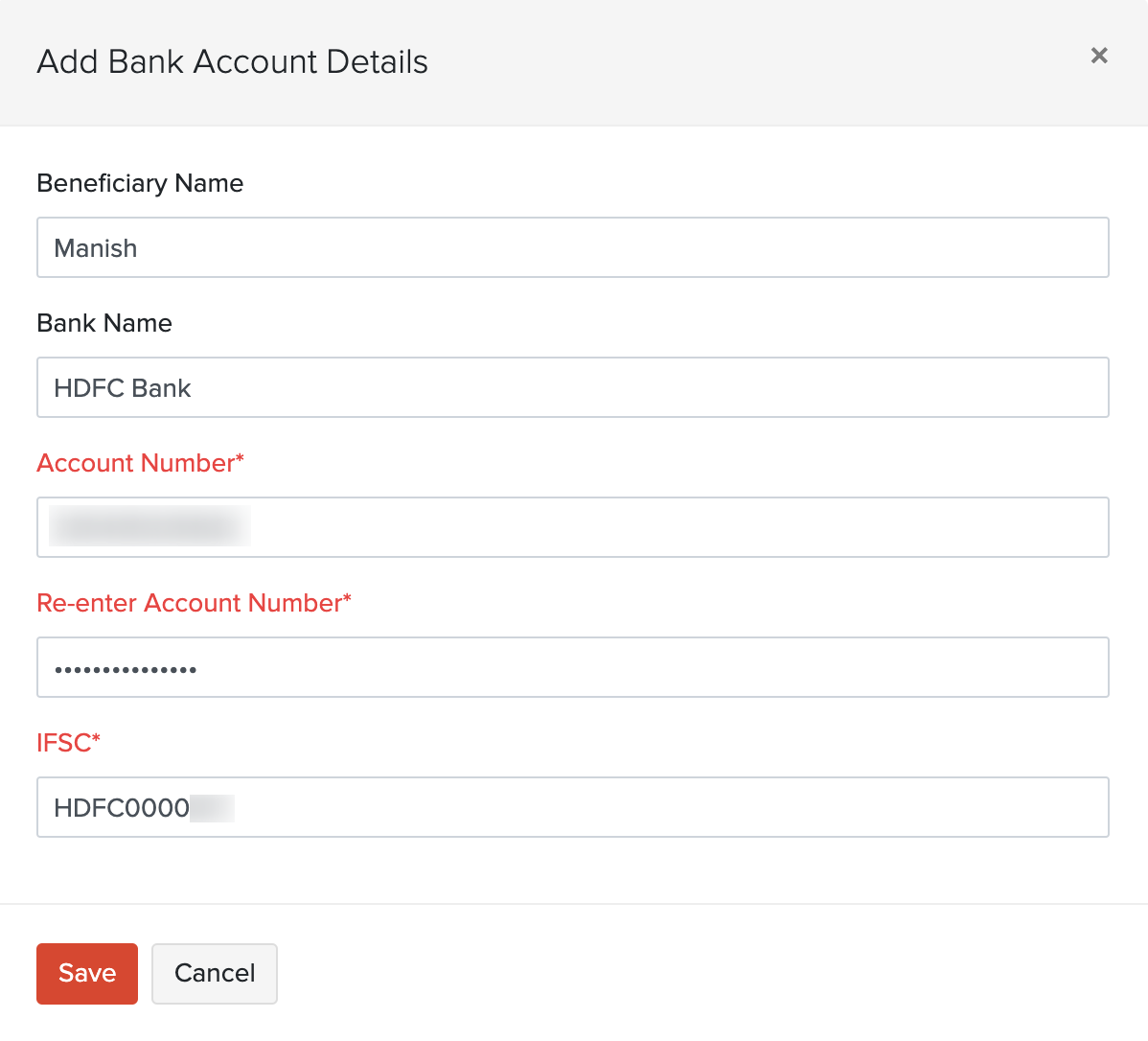 Enter vendor bank account details
